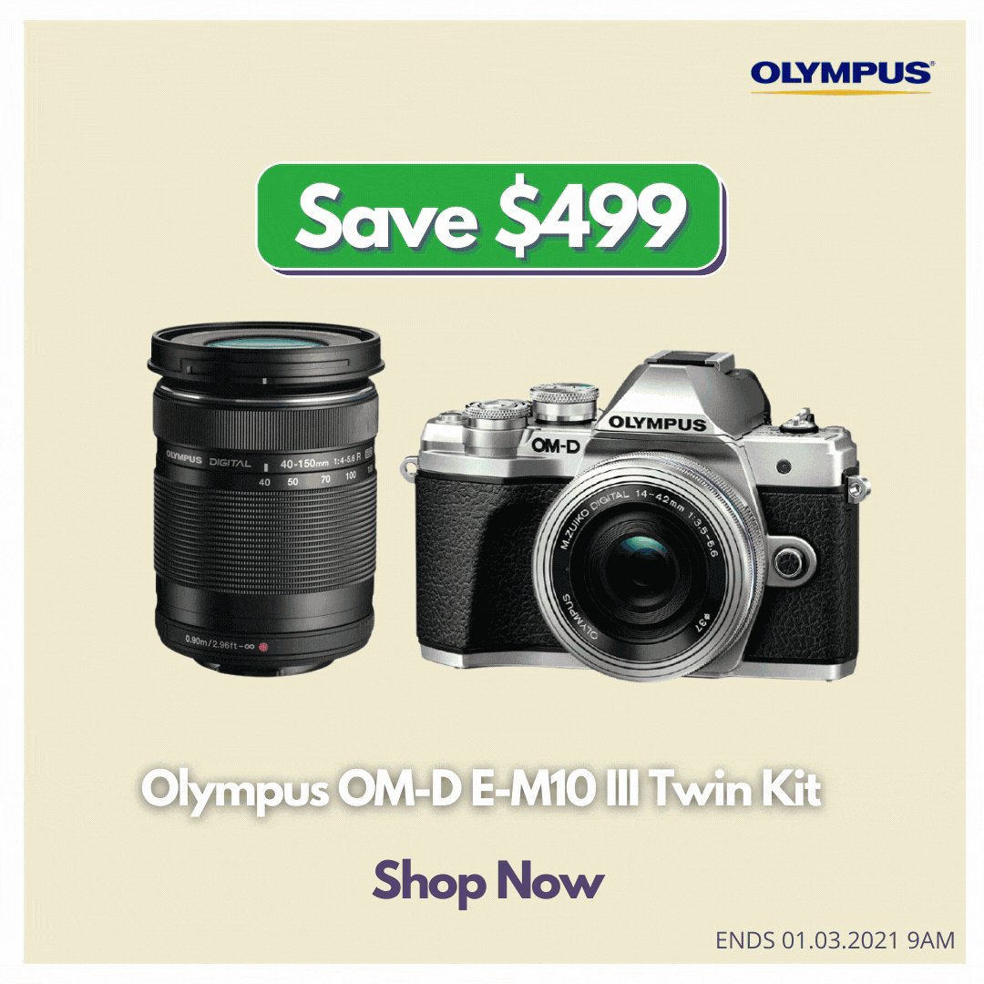 Compact by almighty.   Save $499 on Olympus OM-D E-M10 III Twin Kit including 14-42mm III EZ Lens & 40-150mm R Lens.   Shop Today! https://t.co/8OBrEasIsL   @Olympus_AU #OLYMPUS #Promo #Sales #discount #photography #videography #streetphotography #vlog https://t.co/3eU3fxH2Ft