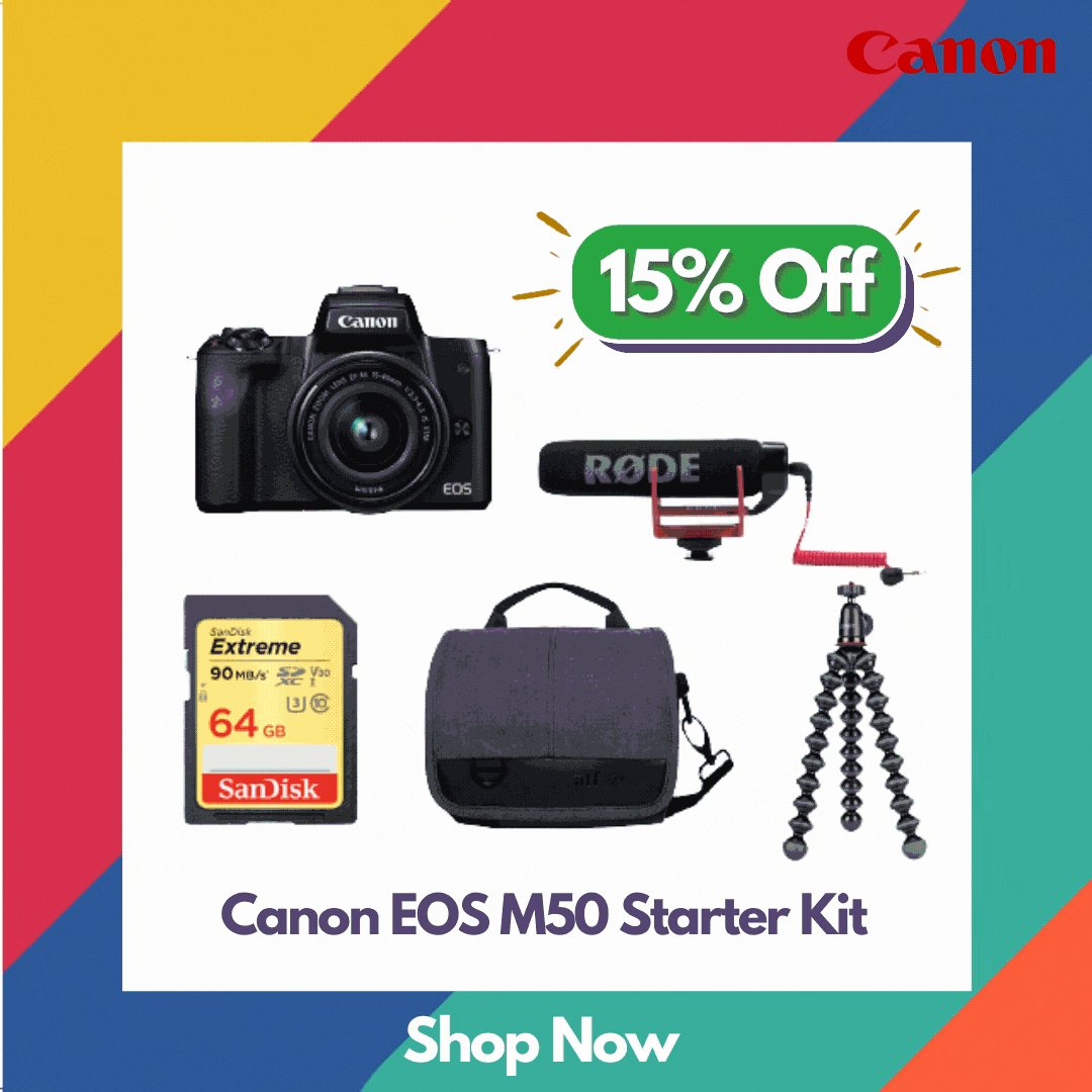 Save $212 On Canon EOS M50 Starter Kit.   The Canon EOS M50 Starter Kit is a great for spontaneous or quick getaway plans as it covers all the accessories you need to capture stunning shots.   Shop Now! https://t.co/bIlRa5abA8   @CanonAustralia #canon #Promo #photography #Sales https://t.co/XSP0z9tZ84
