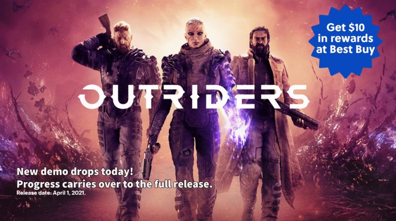 Play today's new Outriders demo on console & keep your character's progress when the game releases in April.  Pre-order at Best Buy & receive $10 in reward certificates!  Follow us & RT for a chance to win a $60 Best Buy GC! Ends 3/4 9PM EST. #sponsored