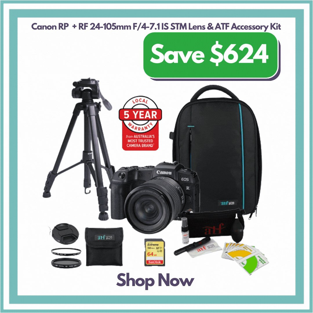 Save $624 on Canon EOS RP Ultimate Bundle.   The Canon EOS RP with 24-105mm f/4-7.1 Lens and ATF Accessory Kit provides everything needed to start shooting. This kit includes a Tripod, Bag, Cleaning Kit and Memory Card.   Shop Now! https://t.co/SKU5gUILVn   @CanonAustralia #Promo https://t.co/39yNvQDd1W