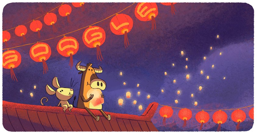 The full moon & stars aren't the only things glowing in the sky tonight! 🌕 🌌  Paper lanterns and light installations will also illuminate the night for the Lantern Festival, an annual celebration for the Lunar New Year 🏮  👀 more with #GoogleDoodle →