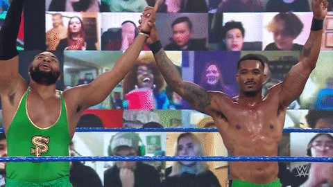 💨💨💨  @MontezFordWWE & @AngeloDawkins are victorious on #SmackDown!