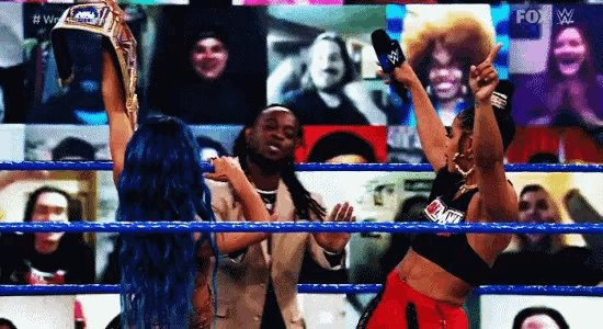 Replying to @Mo_Rease: Reginald being escorted out of Black women's business. #SmackDown #SmackDownMatters