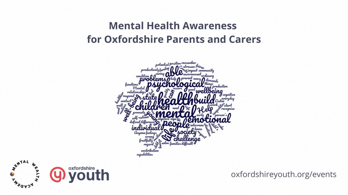 RT @OxYouth: Everybody needs support. That's why this month we have three Mental Health Awareness for Oxfordshire Parents and Carers sessions. Attendance is free for parents and carers living in the county. Find out more and sign up in the link below. https://t.co/EP2joD5ANN