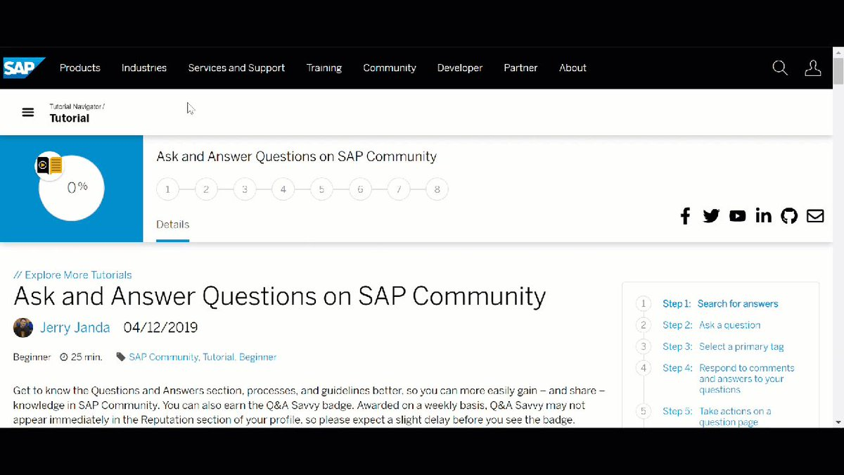 Are you well versed in SAP Community Q&A?   Take this tutorial and get to know the Questions and Answers section, processes, and guidelines to help you easily gain – and share – knowledge in the Community. Bonus, earn the Q&A Savvy badge!: https://t.co/DgYkc60eI8 https://t.co/gW7GsVmroC