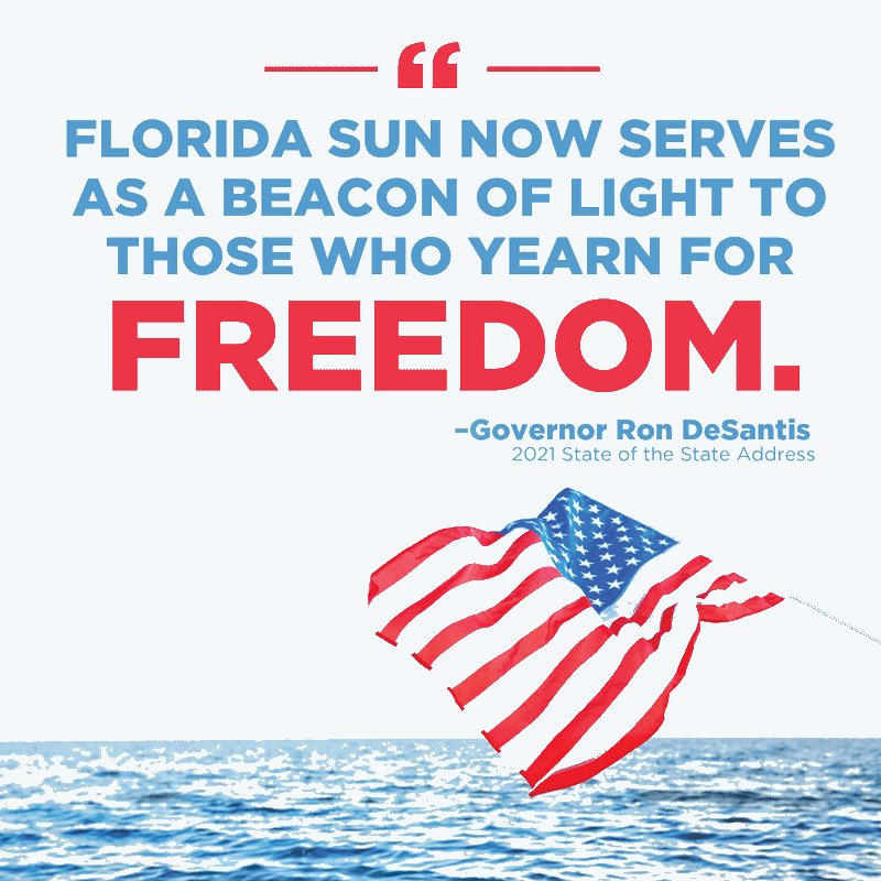 We have long been known as the Sunshine State – but, given the unprecedented lockdowns we have witnessed in other states, I think the Florida sun now serves as a beacon of light to those who yearn for freedom.