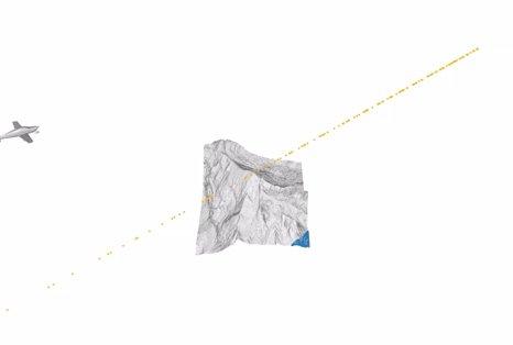 Virtual airborne laser scanning of Swiss mountain Säntis