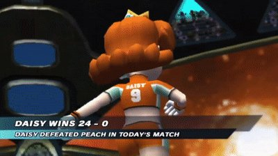 #gaming #success #gcnjapan Both Luigi's Mansion GCN and Super Mario Strikers went well tonight, even if they're short sessions. Sorry for the suggestive GIF of Daisy, but that's who I played as in SMS tonight because she really does shine in that game. :)