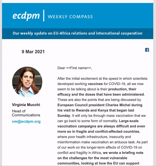 Our Weekly Compass is in your inbox 📬  This week: 💉 #COVID19 vaccines for Africa's fragile regions 🌍 A new pathway to #silencingtheguns in Africa 😷 One year on from #COVID19  ♀️  Gender and international cooperation  Not subscribed yet?  👉https://t.co/w19vMJ0S2F https://t.co/ND7OEVBEPh