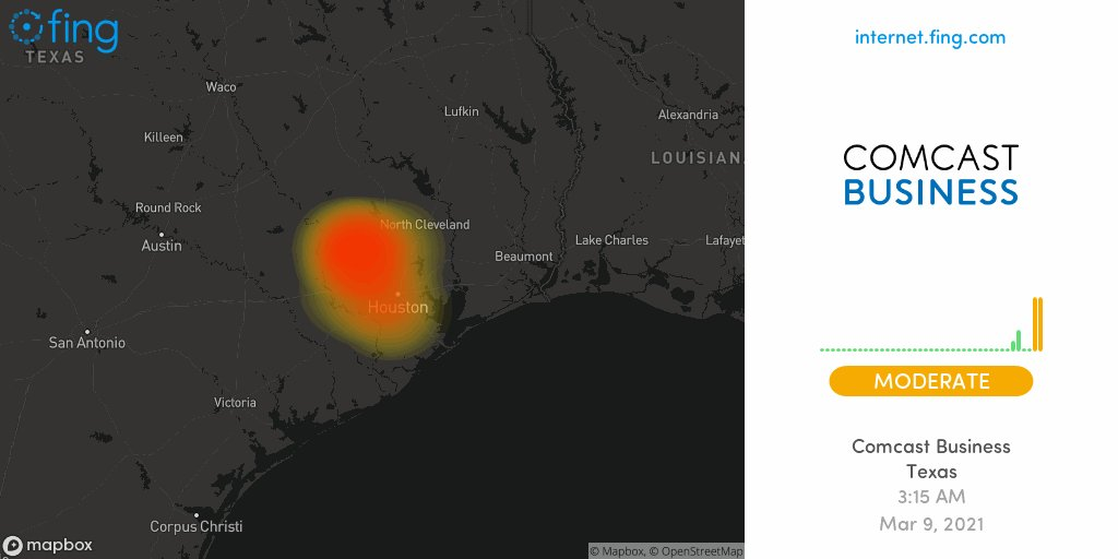 ⚡ Moderate Internet #outage detected: #ComcastBusiness in #Texas since 3:15 AM, impacting #Waller #Barker #Spring +1 areas  🇺🇸 Live map and analysis 👉   #comcastbusiness #ComcastBusinessdown #ComcastBusinessoutage #nointernet #night