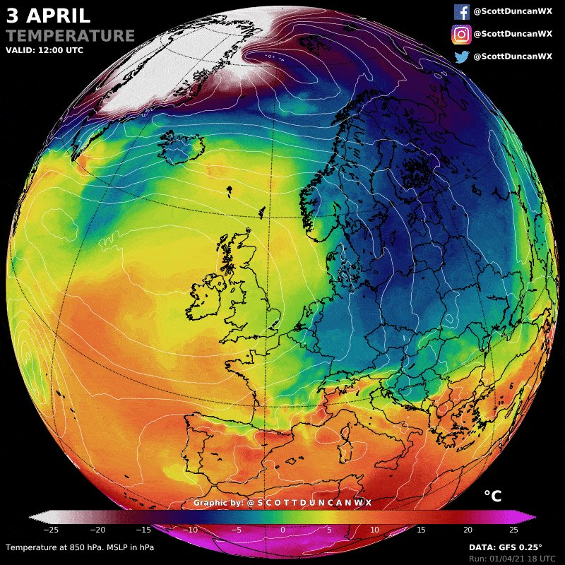Arctic blast incoming ⚠️ A huge temperature shock is on the way for Europe.  From record heat at the end of March, temperatures are going to tumble well below normal early next week. Yes, there will also be snow for some ❄️