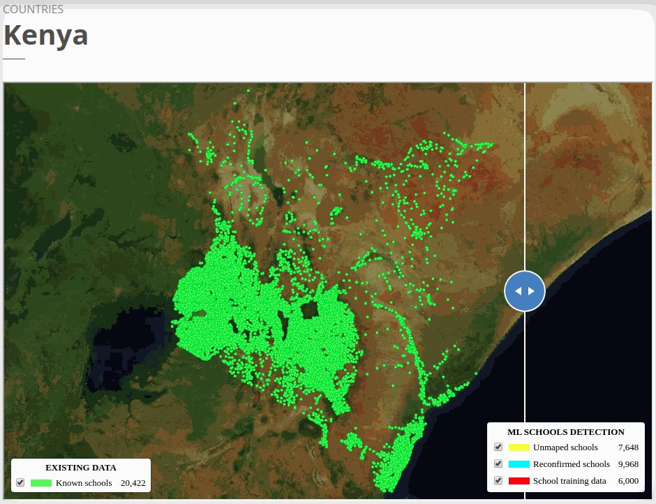 Kenya school map after ML and expert mappers validation. The