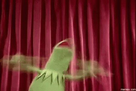 kermit balançando os braços de um lado para o outro e grit
