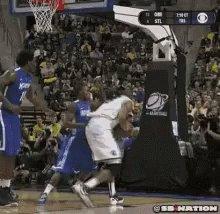 Basketball play at the bask...