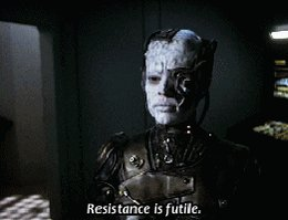 Seven of Nine in the Borg state where we meet her, saying &q