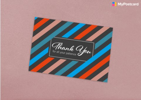 Various thank you cards pile up on a pink background.