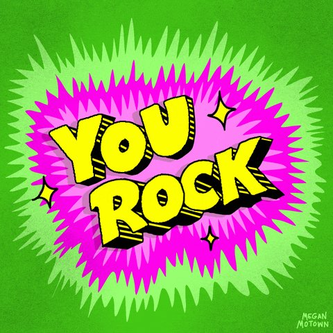 """Green & pink background, with """"You rock"""" in the mi"""