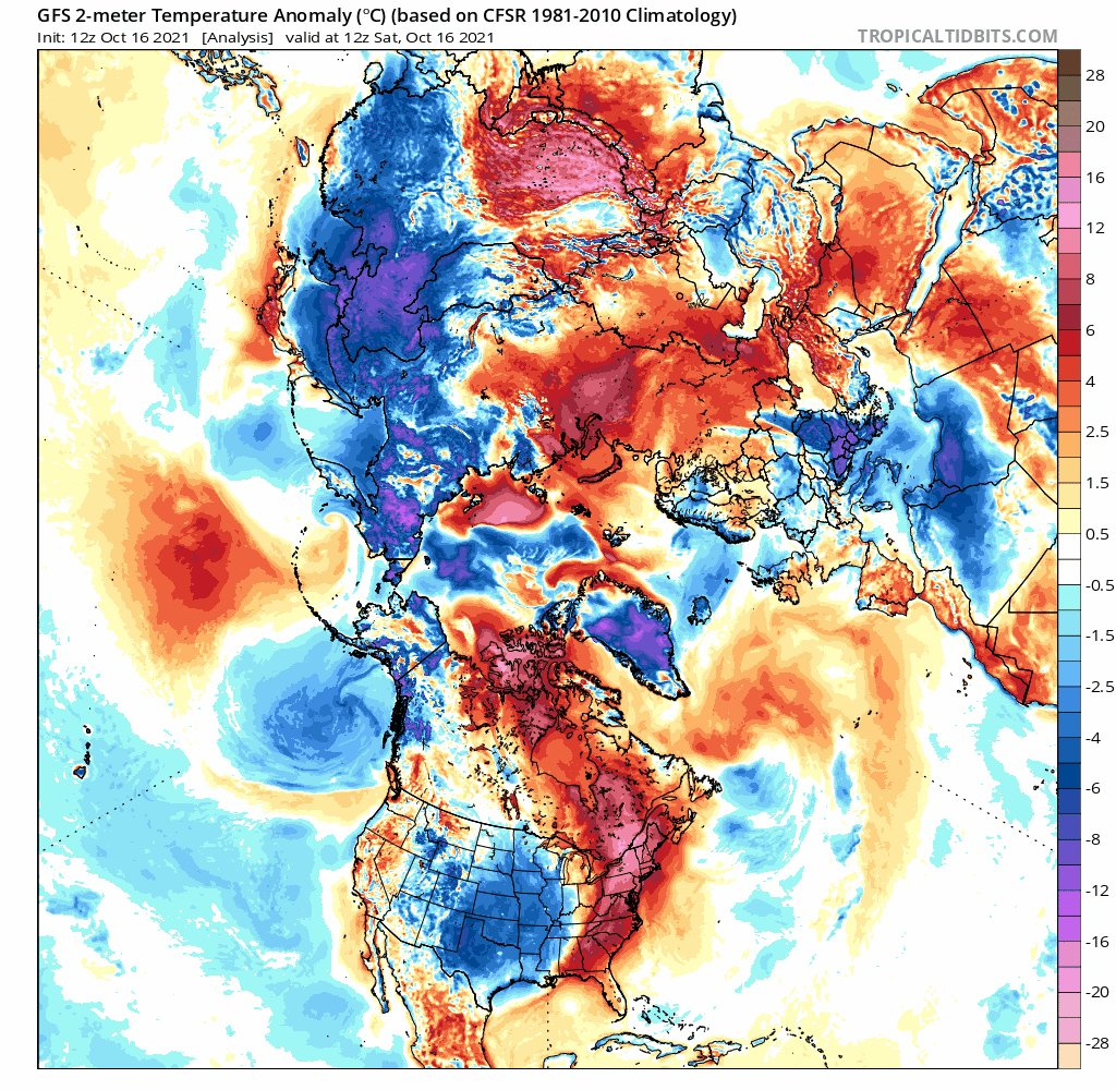 This is what they call an incredible heat bomb. During the next 16 days (and probably during a much longer time) we will face what is meant by Arctic amplification. Large areas show temperatures 26-32°C warmer than normal in Oct.  Thawing permafrost, peat fires, CH₄, CO₂, ESAS.