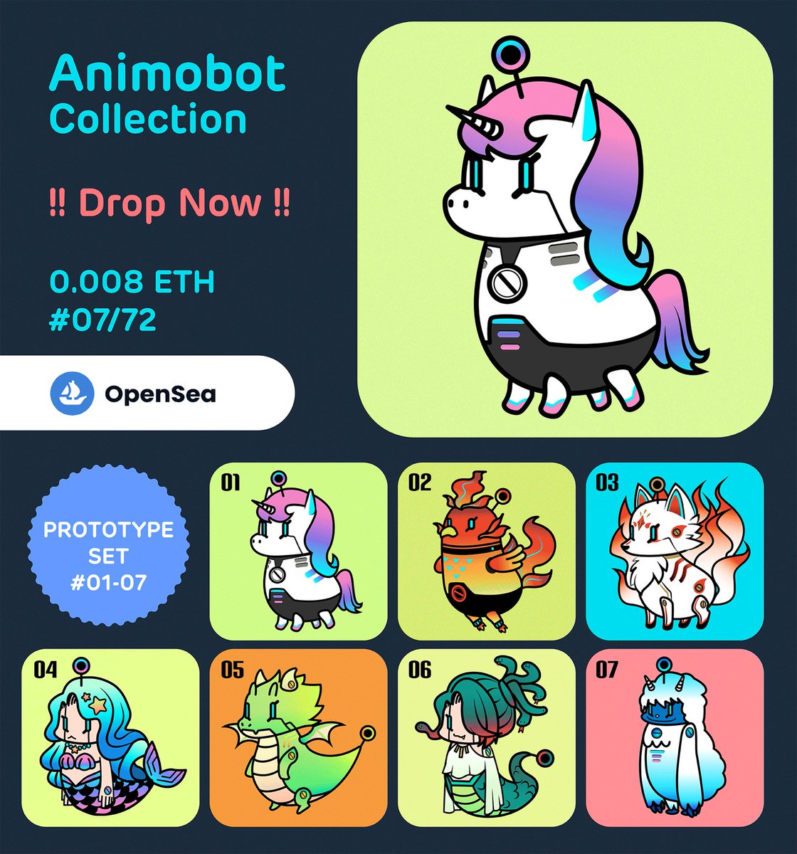 🔥New Drop🔥 Animobot Collection  Prototype set #01-07/72  ✨Available now on opensea✨ opensea.io/collection/ani…  #nftcollector #NFTTHAILAND #nftcollectors #NFTartists #NFTCommunity #NFTdrop #NFTs #nftjapan